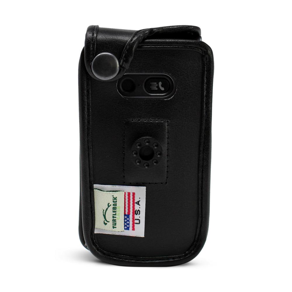 LG Wine 2 LTE Black Leather Case with Ratcheting, Removable Plastic Belt Clip