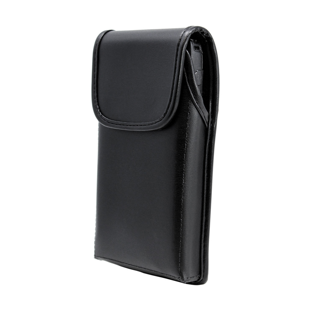 Motorola Lex L11 Vertical Holster Black Leather Pouch with Heavy Duty Rotating Belt Clip