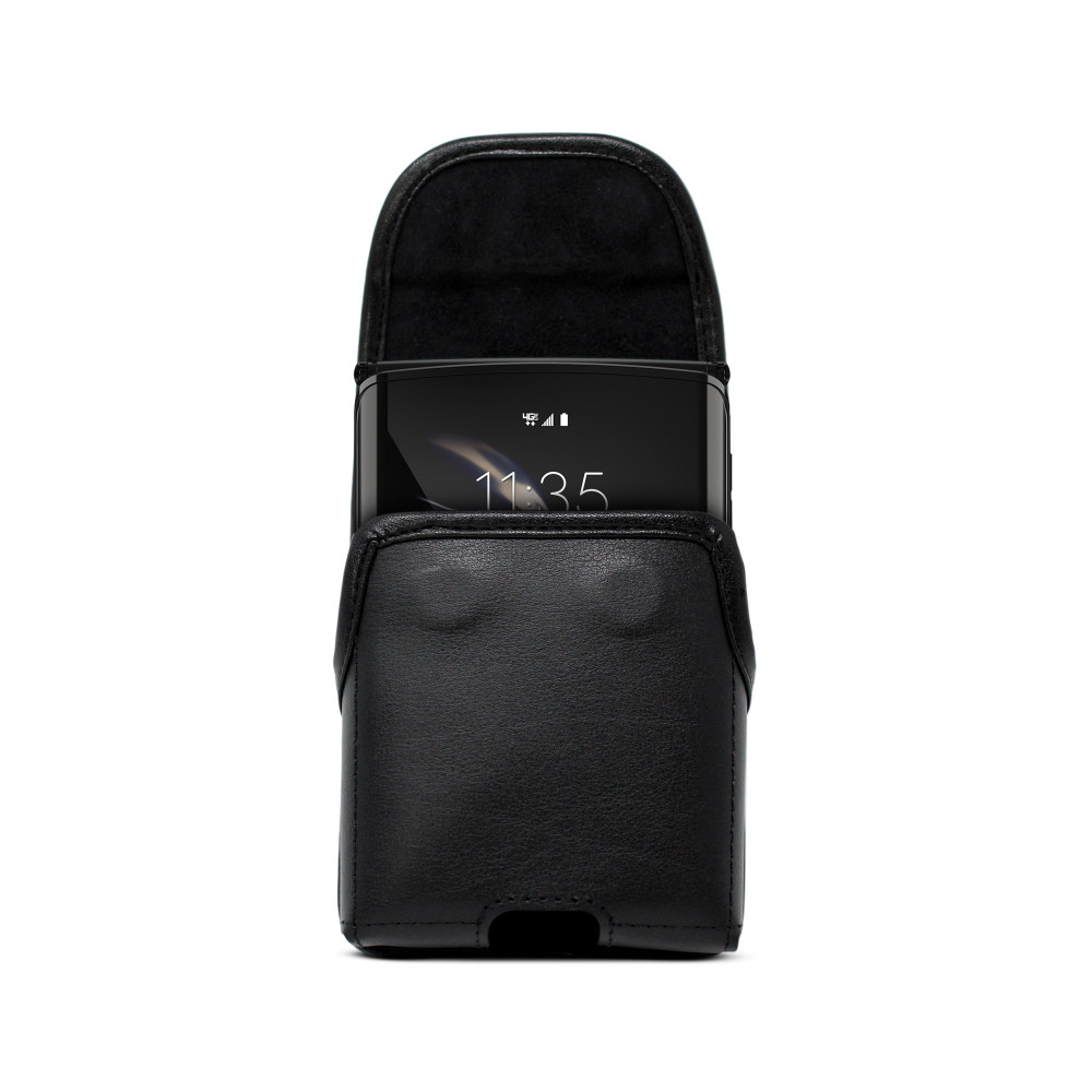 Galaxy Z Flip Vertical Belt Holster Case Black Leather Pouch with Executive Belt Clip