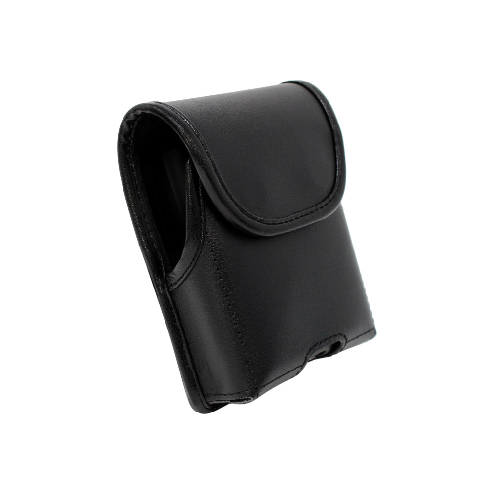 Galaxy Z Flip Vertical Holster Black Leather Pouch with Heavy Duty Rotating Belt Clip