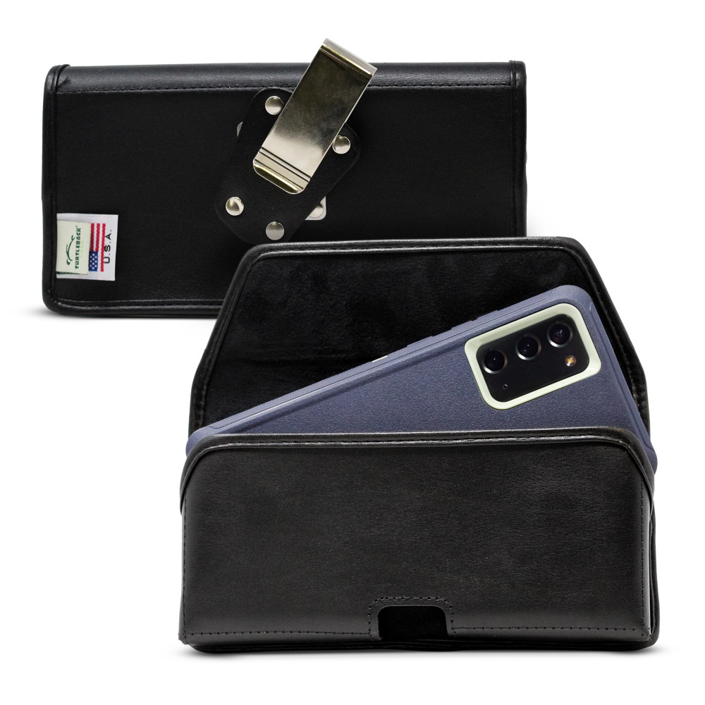 Samsung Galaxy Note 20 Belt Case for Otterbox DEFENDER Case, Turtleback Belt Clip with Rotating Metal Belt Clip, Black Leather Pouch, Heavy Duty Horizontal