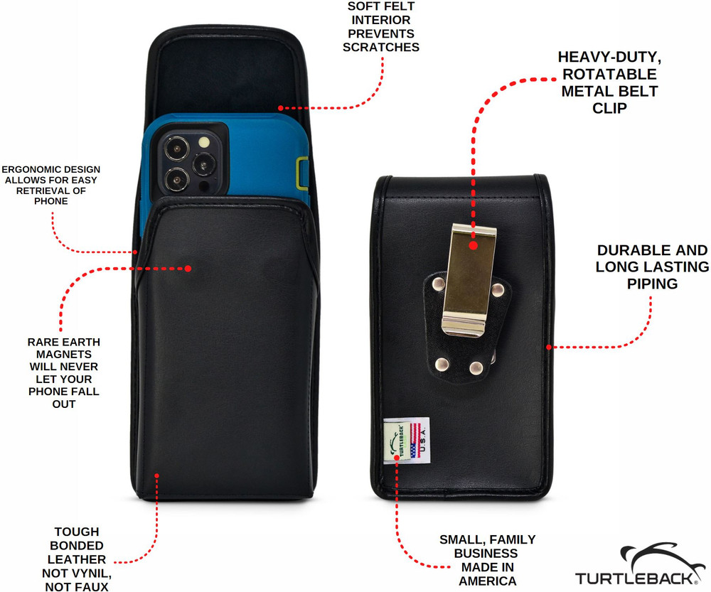 Turtleback Belt Case Designed for iPhone 12 Pro 5G Max (2020) Fits with OTTERBOX DEFENDER, Vertical Holster Black Leather Pouch with Heavy Duty Rotating Belt Clip, Made in USA