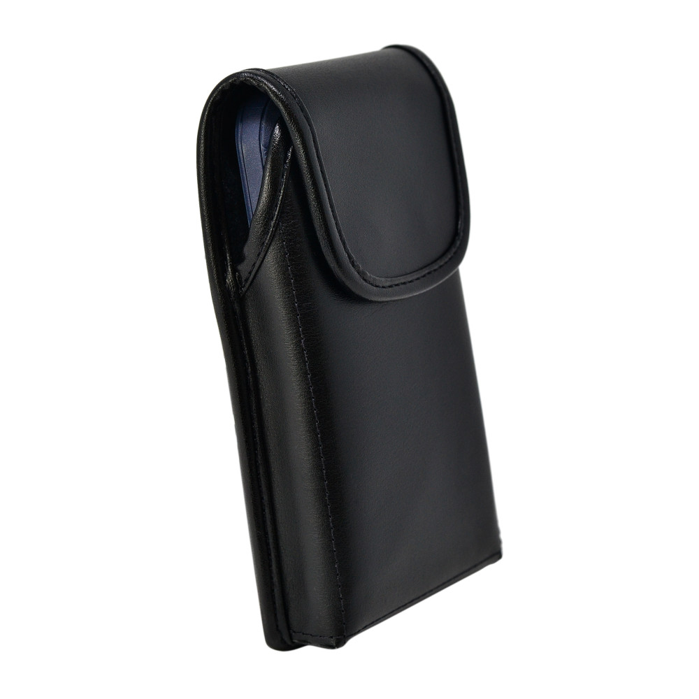 Turtleback Belt Case Designed for iPhone 12 Mini 5G (2020) Fits with OTTERBOX DEFENDER, Vertical Holster Black Leather Pouch with Heavy Duty Rotating Belt Clip, Made in USA