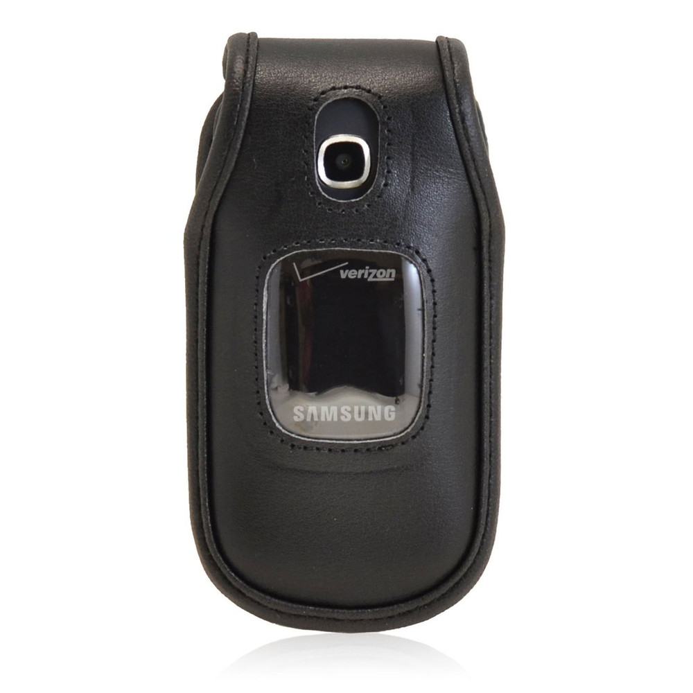 Samsung Gusto 3 Executive Black Leather Case Flip Phone Case with Ratcheting Belt Clip