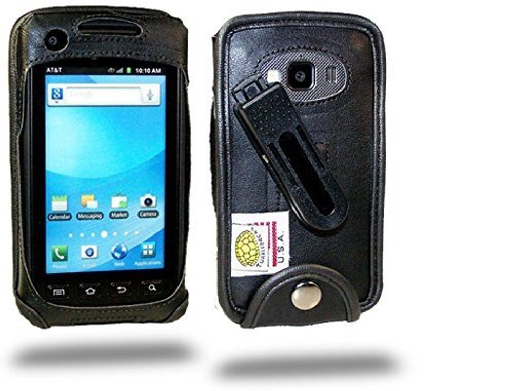 Samsung Rugby Smart Executive Black Leather Case with Ratcheting Belt Clip