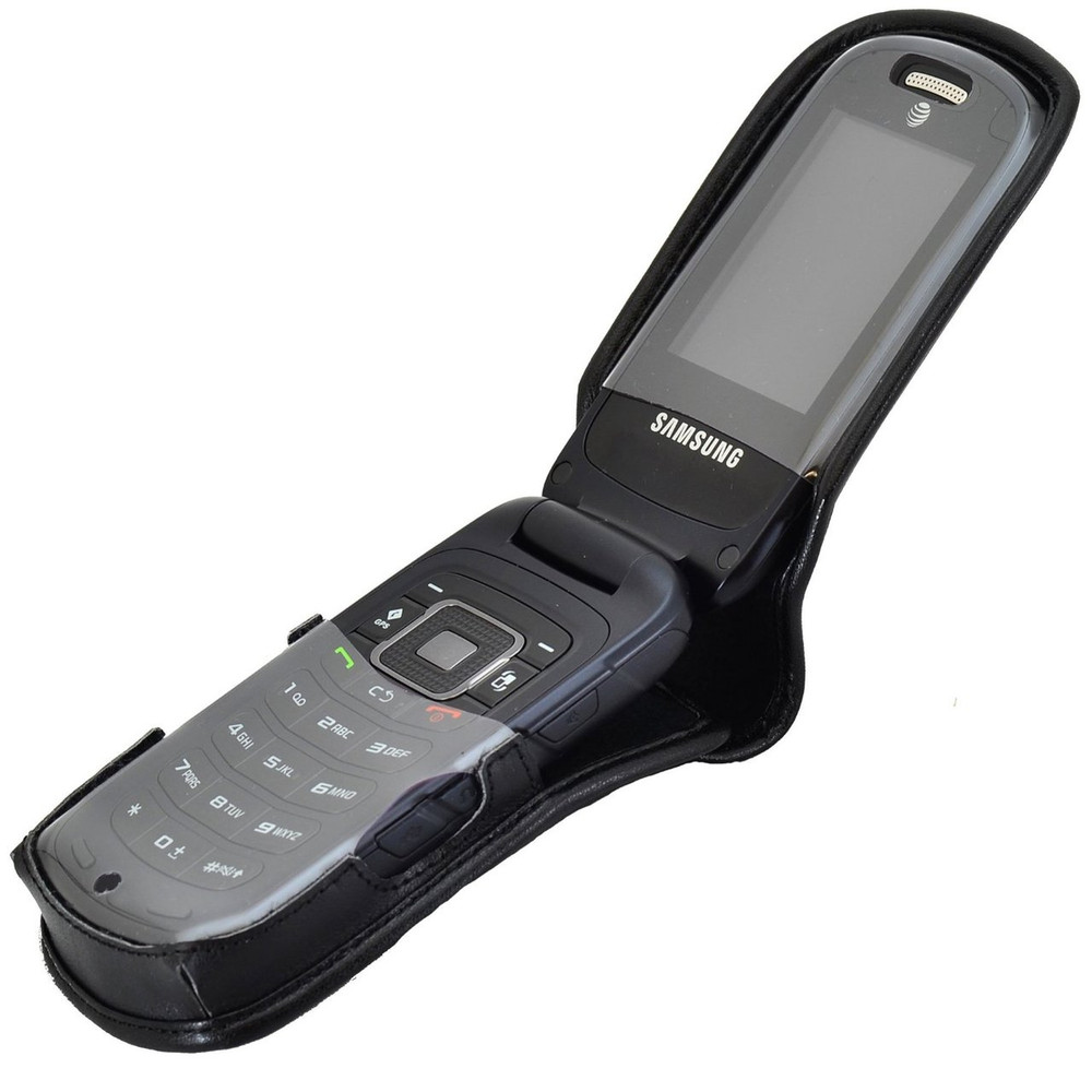 new styles 0c639 bd145 Samsung Rugby 4 Flip Phone Leather Fitted Case with Ratcheting Belt Clip