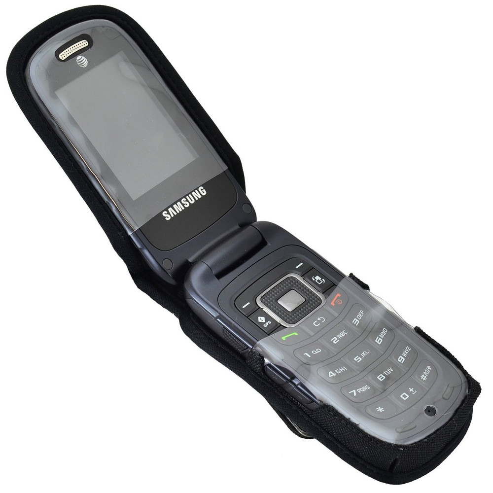 Samsung Rugby 4 Flip Phone Heavy Duty Nylon Fitted Case with Rotating Removable Metal Clip