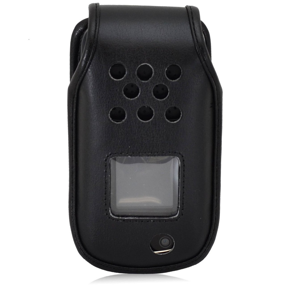 Samsung Rugby 4 Flip Phone Black Leather Fitted Case with Rotating Removable Metal Clip