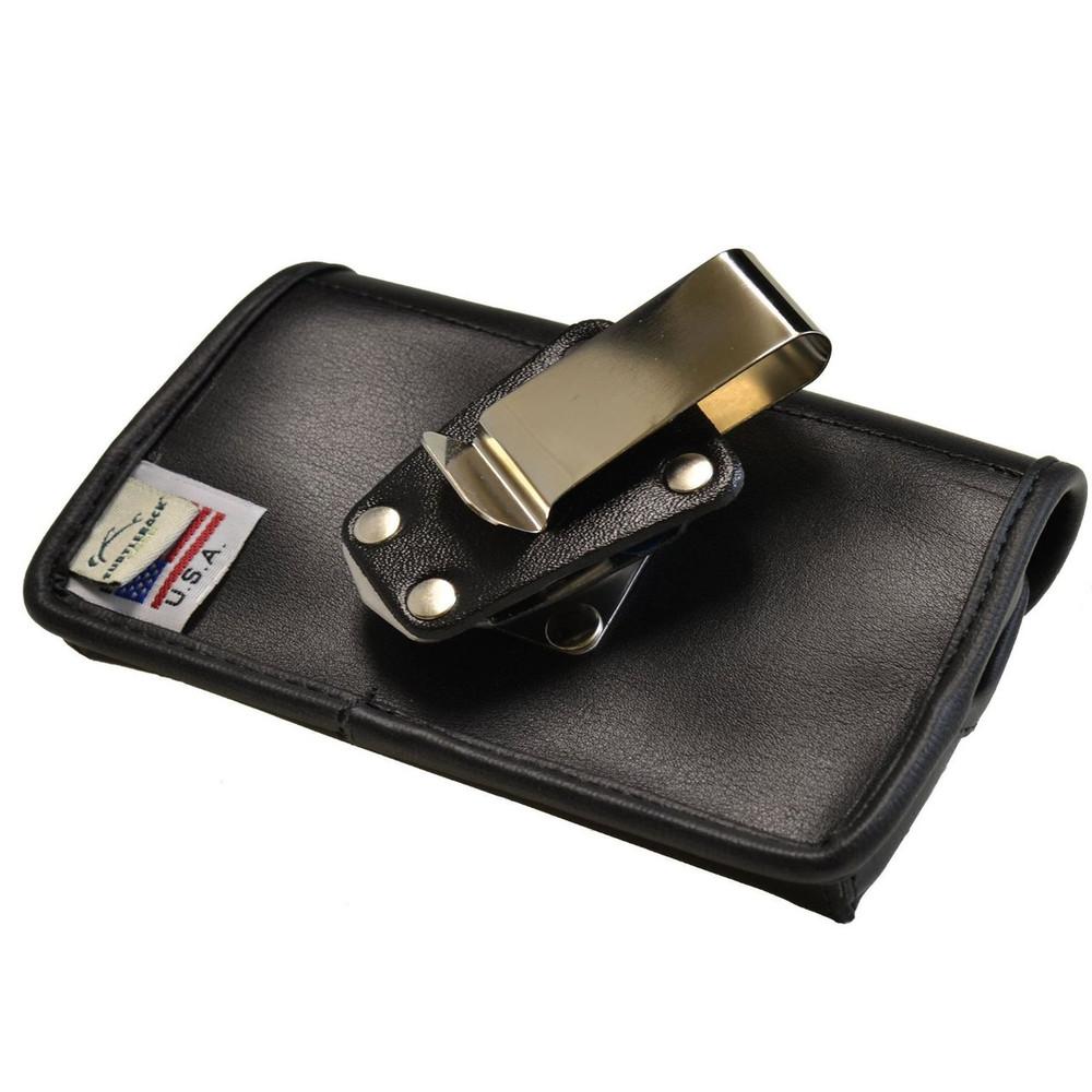 Casio GzOne Commando Horizontal Leather Holster, Metal Belt Clip, Snap Closure