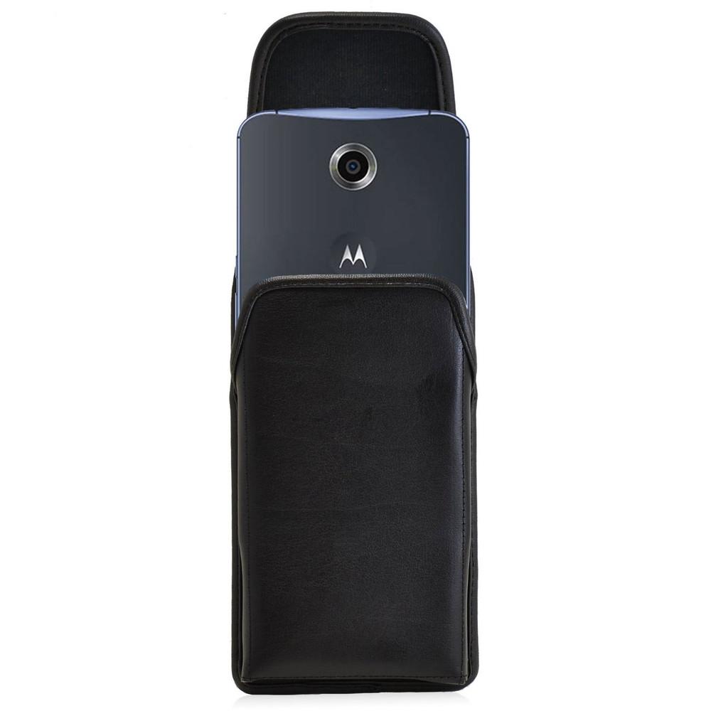 Google Nexus 6 Vertical Leather Holster, Black Belt Clip