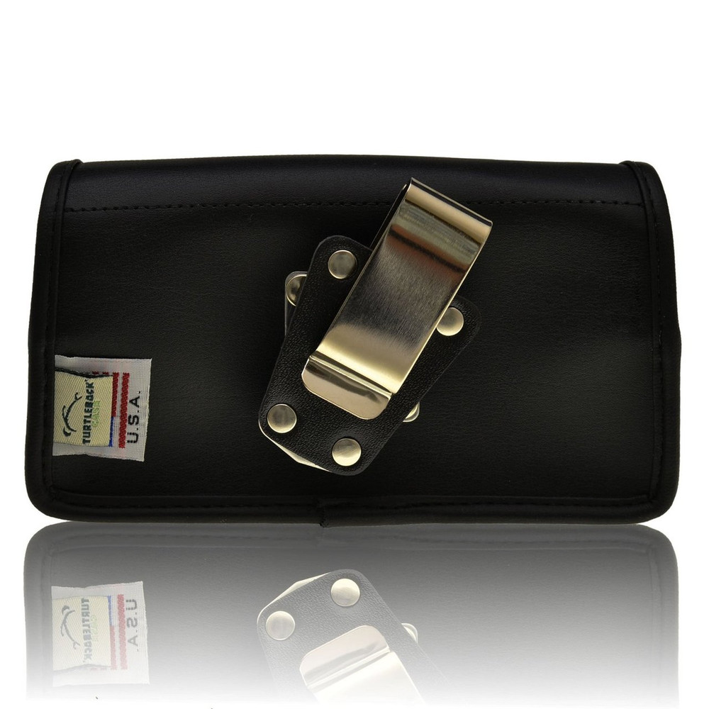 Horizontal Leather Extended Holster for Samsung Galaxy S4 IV with Bulky Cases, Metal Belt Clip, Snap Closure