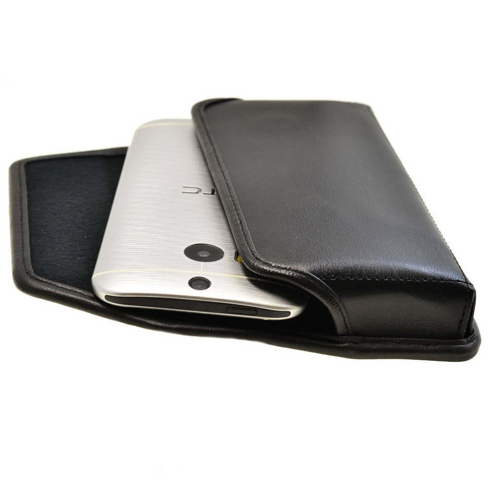 HTC One M8 Horizontal Leather Holster, Black Belt Clip
