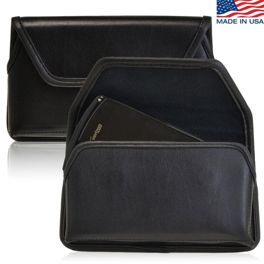 Kyocera Brigadier E6782 Horizontal Leather Holster, Black Belt Clip
