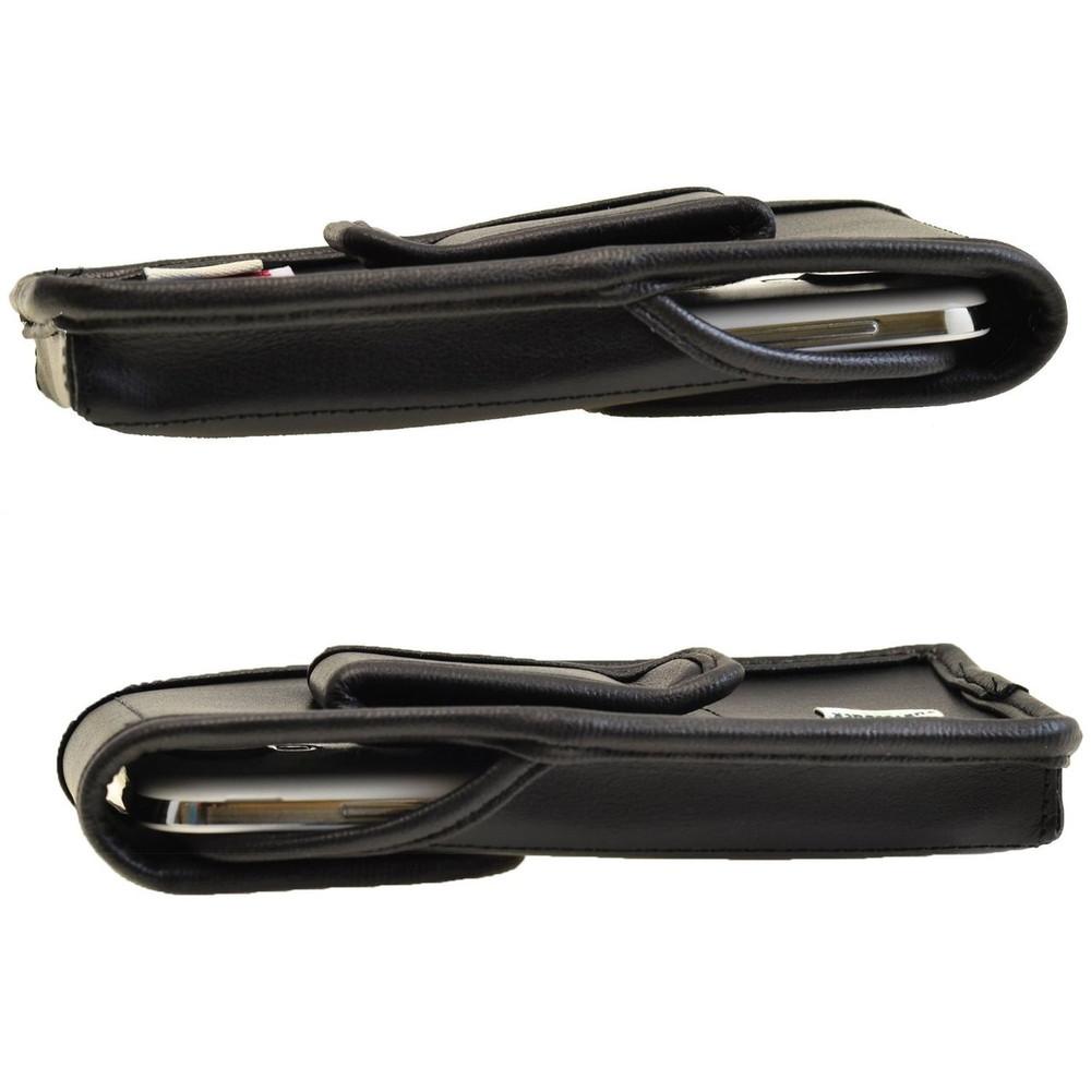 Kyocera Brigadier E6782 Vertical Leather Holster, Black Belt Clip