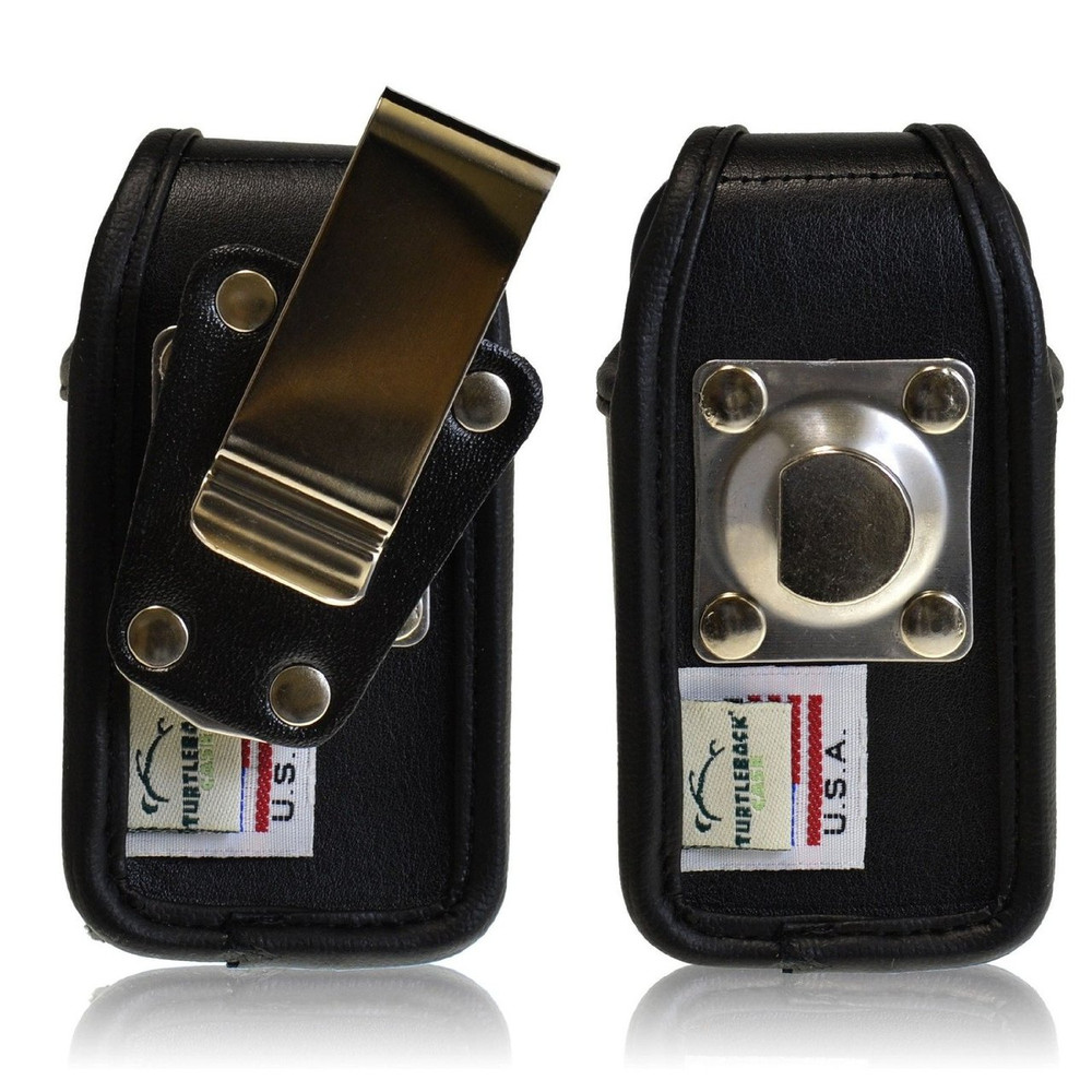 LG Revere 2 Leather Holster, Metal Belt Clip, Snap Closure
