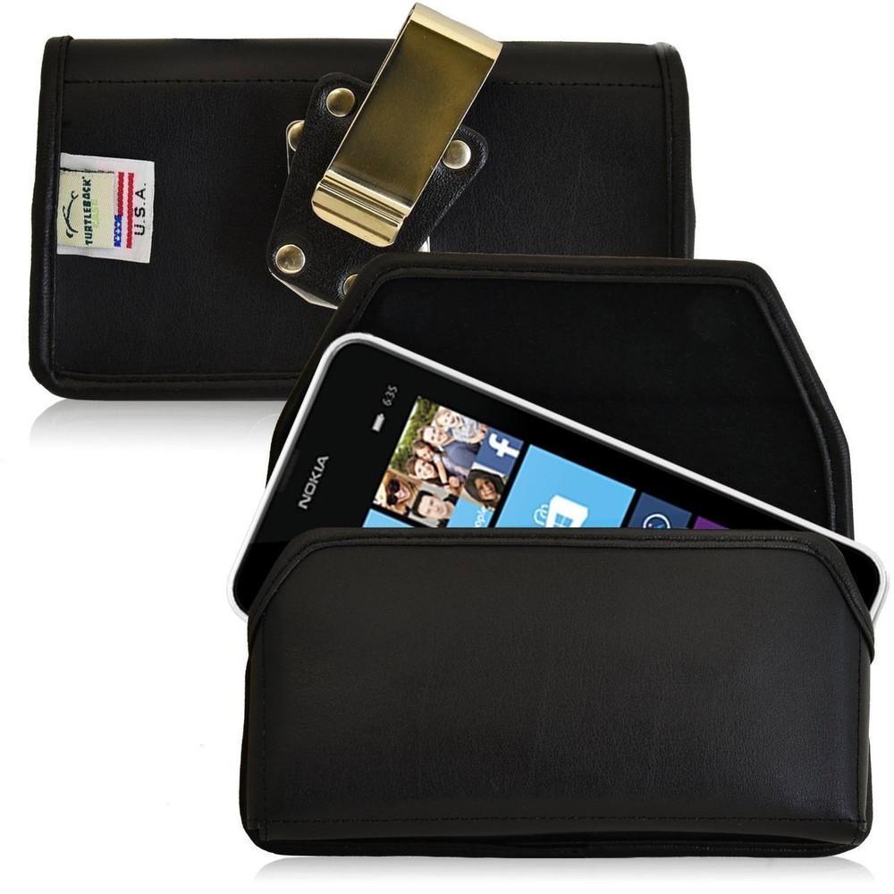 Nokia Lumia 635 Horizontal Leather Holster, Metal Belt Clip