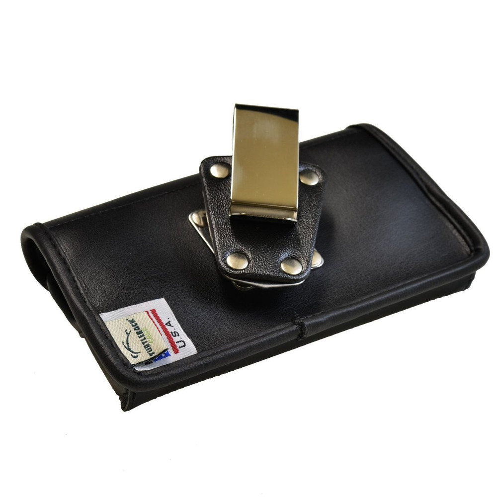 Samsung Rugby Pro i547 Horizontal Leather Holster, Metal Belt Clip, Snap Closure
