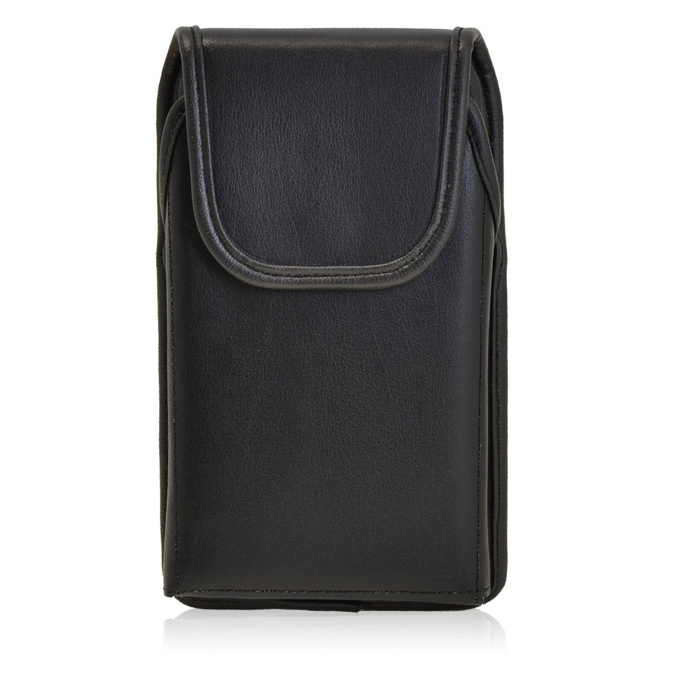 Vertical Leather Extended Holster for Motorola Droid Turbo with Bulky Cases, Metal Belt Clip