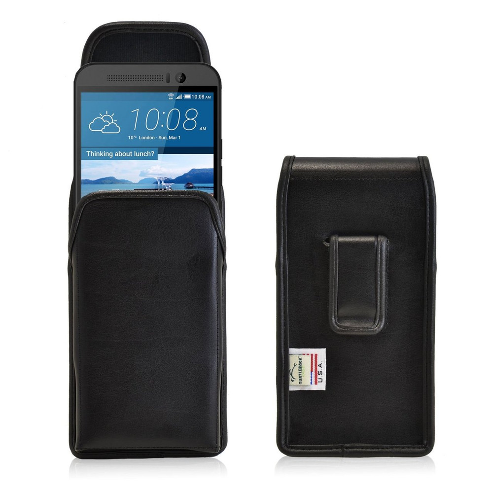HTC One M9 Vertical Leather Holster, Black Belt Clip
