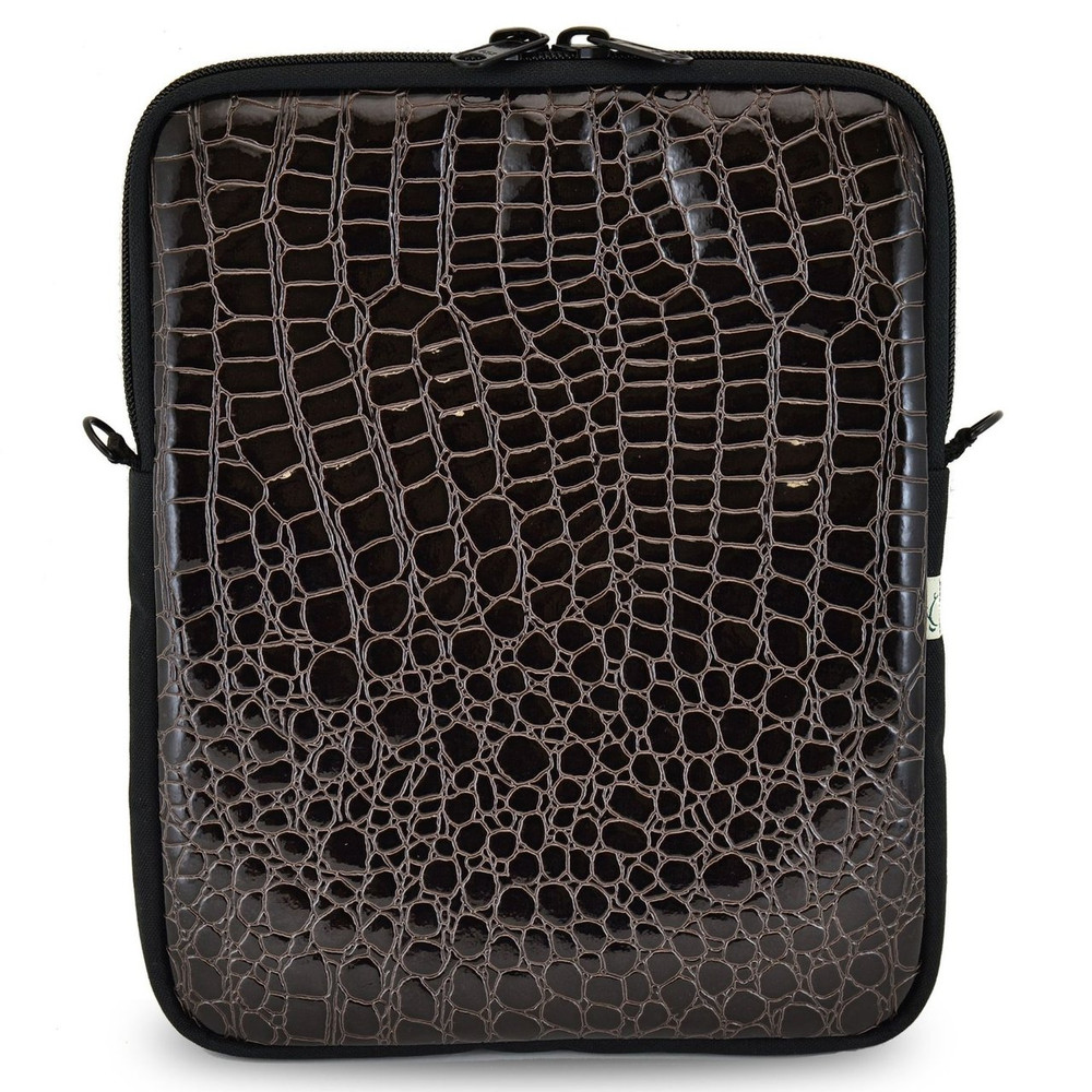 Laptop Case in Croc Skin Black Color - Multiple Sizes, Padded, Water Resistant- Made in USA