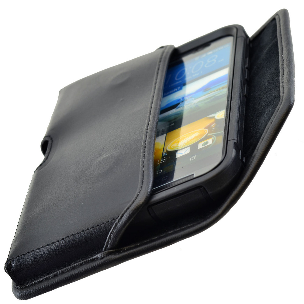 Horizontal Leather Extended Holster for HTC One M9 with Bulky Cases, Black Belt Clip
