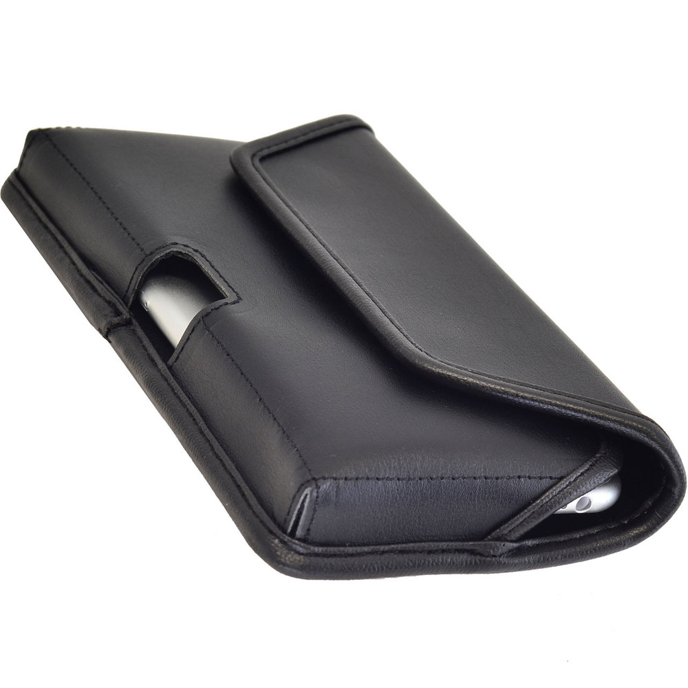LG G4 Horizontal Leather Holster, Black Belt Clip