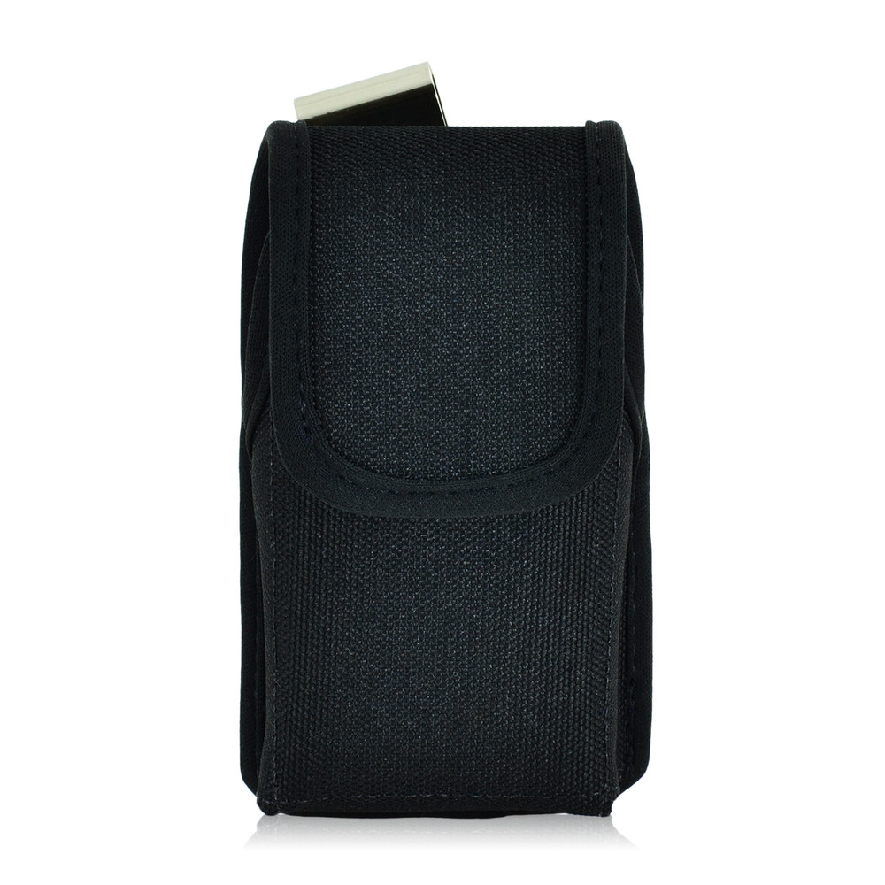 Universal Extra Small Vertical Black Nylon Pouch, Metal Belt Clip