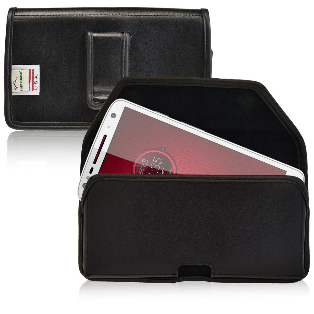 Droid Turbo 2 Leather Holster Black Clip