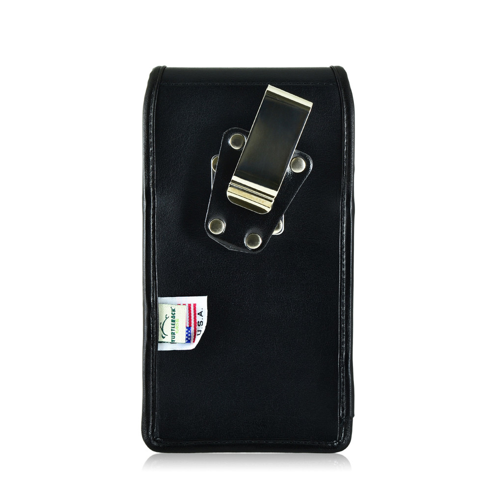 Galaxy Note 5 Vertical Leather Holster for Otterbox DEFENDER Case Metal Clip and Fits Bulk Cases