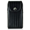 iPhone 6S+ Plus Samsung S7 Edge Police Pouch Holster Vertical Snap Closure Black Basketweave Leather Belt Clip Case with Heavy Duty Rotating Belt Clip, fits Otterbox Defender and Bulky Cases