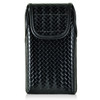 iPhone 6S+ Plus Samsung S7 Edge Police Pouch Belt Clip Vertical Velcro Closure Black Basketweave Leather Holster Pouch with Heavy Duty Rotating Belt Clip, fits Otterbox Defender and Bulky Cases
