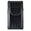 iPhone 6S Samsung S7 Police Pouch Belt Clip Vertical Velcro Closure Black Basketweave Leather Holster Pouch with Heavy Duty Rotating Belt Clip, fits slim cases