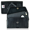 iPhone 6S+ Plus Samsung S7 Edge Police Pouch Holster Horizontal Snap Closure Black Basketweave Leather Belt Clip Case with Heavy Duty Rotating Belt Clip, fits Otterbox Defender and Bulky Cases