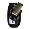 ATT ZTE Z223 Flip Phone Black NYLON Belt Fitted Flip Phone Case Metal Ratcheting Removable Belt Clip