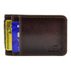Front Pocket Wallet ID Window Minimalist Slim Card Holder with RFID Blocking Thin Genuine BROWN Leather