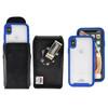 Tough Defense Combo for iPhone X & XS, Blu/Clr Drop Test Case + Vertical Pouch, Metal Clip