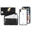 Hybrid Case Combo for iPhone XS Max, Clear/Black Case + Horizontal Leather Pouch, Metal Clip