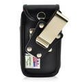 Greatcall Jitterbug Flip Phone Case Black LEATHER Fitted Case Metal Removable Rotating Belt Clip