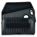 iPhone 6S+ Plus Samsung S7 Edge Police Pouch Belt Clip Horizontal hook and loop Closure Black Basketweave Leather Holster Pouch with Heavy Duty Rotating Belt Clip, fits Otterbox Defender and Bulky Cases