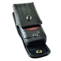 Dura XV, Rugby 4 Convoy 4 Flip Phone Police Pouch Holster Vertical Snap Closure Black Basketweave Leather Belt Clip Case with Heavy Duty Rotating Belt Loop