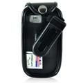 Doro PhoneEasy 626 Flip Phone Fitted Case Black Leather Plastic Clip Turtleback