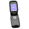 ZTE Z320 Cymbal Flip Phone Case Black LEATHER Fitted Case Metal Removable Rotating Belt Clip