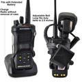 Motorola APX 4000 Extended Battery Dual Knob Carry Holder Case Turtleback, Black Leather Duty Belt Holster