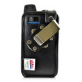 Sonim XP7 IS Black Leather Fitted Case Rotating Removable Metal Belt Clip By Turtleback