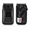 Alcatel Flip Phone Case for GO FLIP, Go Flip V, AT&T Flip2, T-Mobile 4044W, MYFLIP (A405DL) & More, Black Leather Fitted Holster with Removable Belt Clip