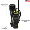 Motorola APX 7000XE Belt Holster Case Two Way Radio Black Leather Duty Belt Holster with Rotating Belt Clip