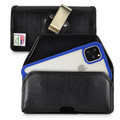 Tough Defense Combo for iPhone 11 Pro Max, Blu/Clr Drop Test Case + Horizontal Pouch, Metal Clip