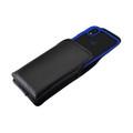 Tough Defense Combo for iPhone XR, Blue/Clear Drop Test Case + Vertical Pouch, Leather Clip