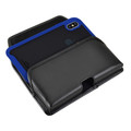 Tough Defense Combo for iPhone XS Max, Blu/Clr Drop Test Case + Horizontal Pouch, Metal Clip