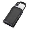 Tough Defense Combo for iPhone X & XS, Blk/Clr Drop Test Case + Vertical Pouch, Leather Clip